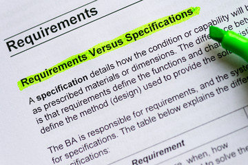 requirement versus specification