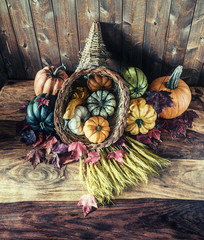 Cornucopia with Squash, Gourd, Pumpkin and Wheat