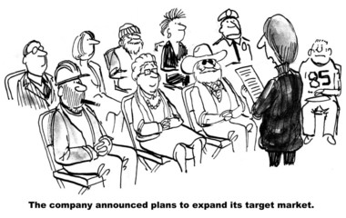 Cartoon on expanding the target market to everyone.