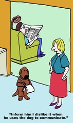 Cartoon of husband using dog to communicate with wife.