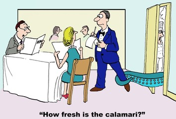Cartoon of fresh calamari grabbing restaurant waiter.