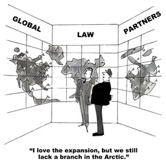 Cartoon of global expansion of law firm, need Arctic branch.