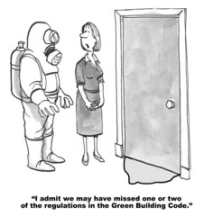 Cartoon of businesswoman, we missed some regulations.