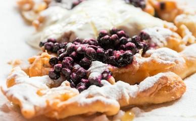 Delicious bilberry pancake