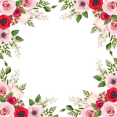 Frame with red and pink roses and various flowers. Vector.
