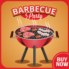 Vector barbecue banner illustration