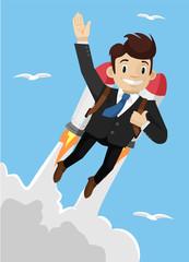 Super businessman. Vector illustration