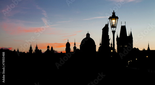 Fotobehang Praag Night view from the Charles Bridge with building silhouettes
