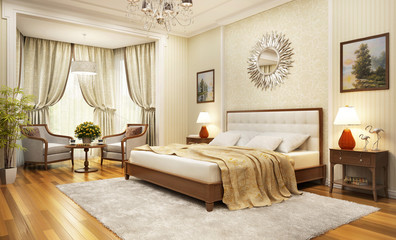 Big bedroom in classic style