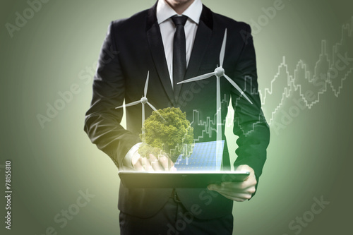 canvas print picture Businessman with Tablet PC