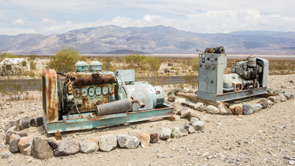 Rusty machines near a gas station in Panamint Springs California
