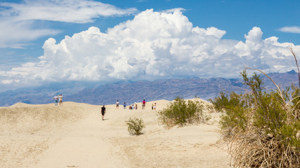 People walking at view point with sand dunes in Death Valley Nat