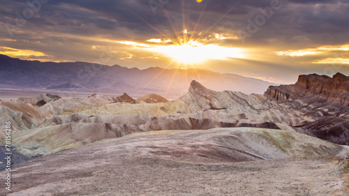 Fotobehang Woestijn Zabriskie point during sunset in Death Valley National Park