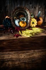 Cornicopia on Wooden Table