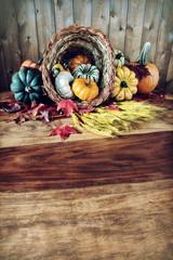 Cornucopia on Harvest Table