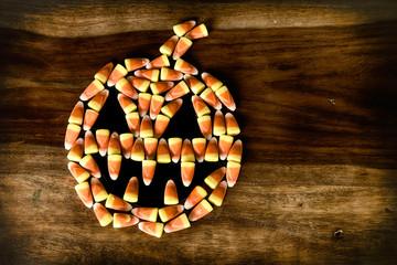 Candy Corn Halloween Jack-o-lantern with Fangs