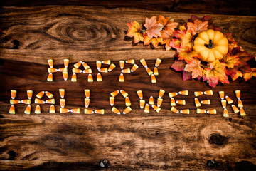 Candy Corn Happy Halloween with Decor