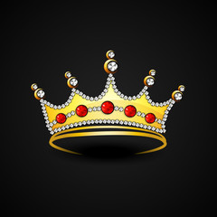 Beautiful golden crown on black background.