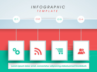 Creative business infographic template with colorful web icons.