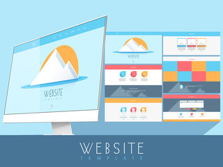 Creative website template design with desktop for your business.