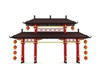 Chinese gate decorated with lanterns