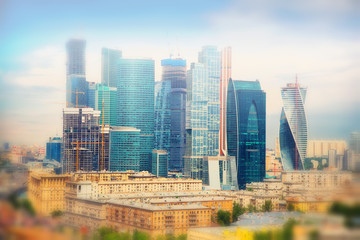 International business center Moscow-City in the fog, Russia
