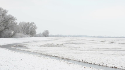 snowy winter landscape at Havelland (Brandenburg, Germany)