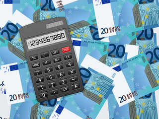 calculator on twenty euro background