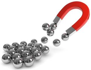Magnet Eisenkugel Anziehung