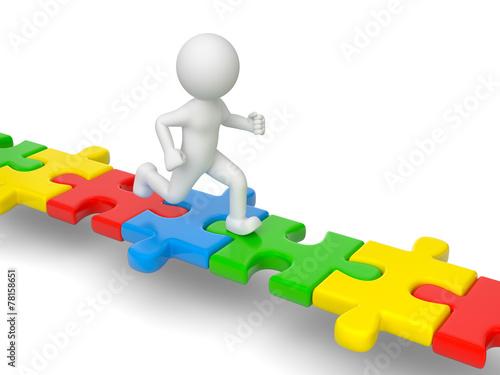 canvas print picture 3d Männchen läuft auf Puzzleteile