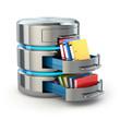 Leinwandbild Motiv Database storage concept. Hard disk icon with folders  isolated