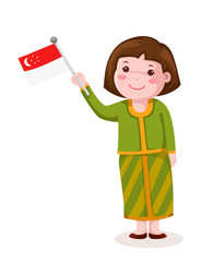 cute singapore girl in traditional clothes with flag