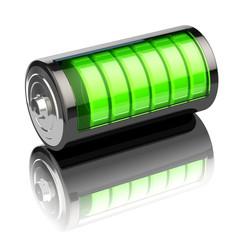 Battery charge level indicators isolated on white. Charging.