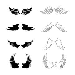 Set of vector wings - design elements - black silhouettes