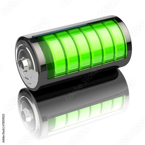 Battery charge level indicators isolated on white. Charging.