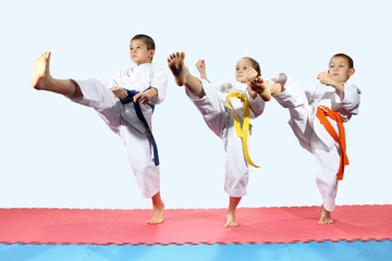 Sportsmen in karategi are beating direct kick leg