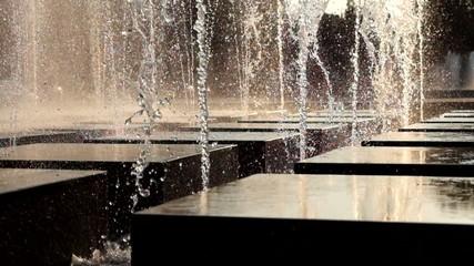 Fountain backlit closeup.