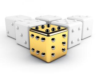 gold winning dice leadership concept