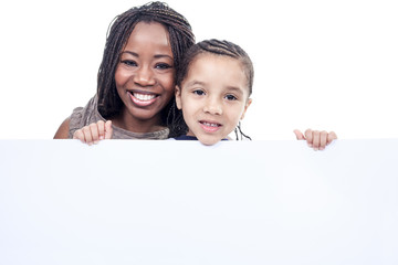 A mother and son african american boy, isolated on white backgro