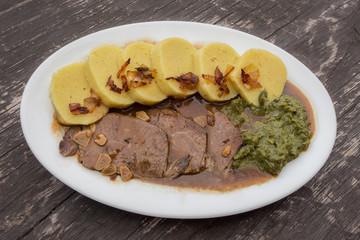 Traditional Czech or German cuisine (food).