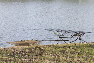 fishing rods on lake