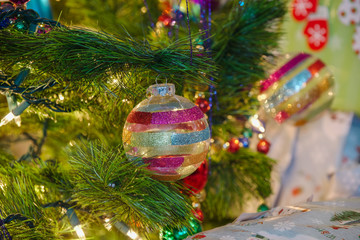 Delicate glass christmas Ornaments on a Chri