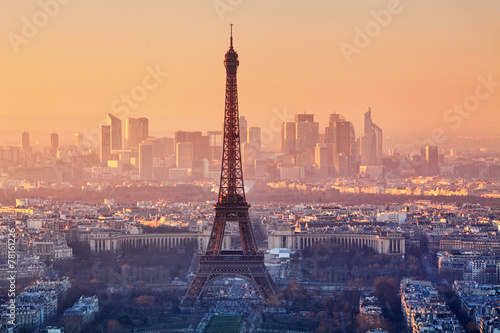 Poster Parijs Aerial view of Paris at sunset