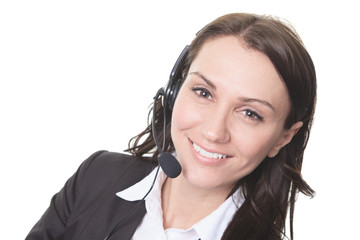 Smiling attractive woman with headphone isolated against white b