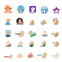 Ok Hand Icons Set - Isolated On White Background