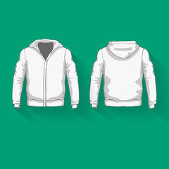 Men's hoodie shirts template. Front back views.