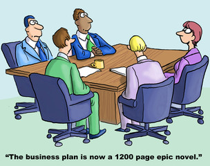 Cartoon of business team, plan is 1,200 page epic novel.