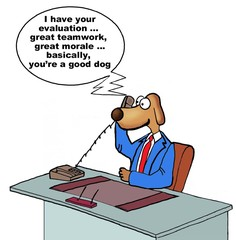 Cartoon of businessman evaluation, he is a good dog.
