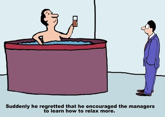 Cartoon of business boss encouraging managers to relax.