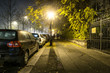 Sidewalk road at the night in dormitory in Budapest, Hungary